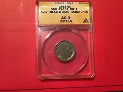 Extremely Rare 1916/1916 Ddo Error Buffalo Nickel Authenticated By Anacs. Very