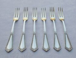 Rar Set 6 Cheese Obst-gabeln In Art Nouveau From 800er Silver Wilkens And Pressure