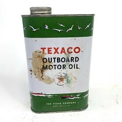 Original Texaco Outboard Motor Oil Advertising Can Quart Great Graphics