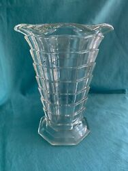 Large Crystal Tea Room Depression Glass Vase W Ruffled Edge Excellent Condition