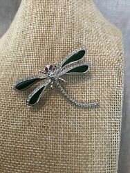 14k White Gold Brooch, Ruby Eyes, Jade Wings And Diamonds, 2 Inch L/w
