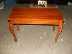Walnut Hardtop Duet Piano Bench With Storage With Queen Anne Legs