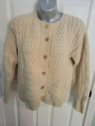 Callan Country Collection 100 Wool Cardigan Sz. Med Vintage Cableknit Sweater