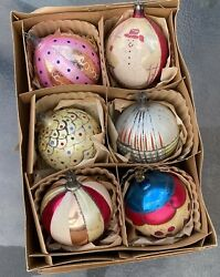 Vintage Set Of 6 Jumbo Xl Poland Glass Hand Painted/decorated Christmas Ornament