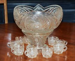 Vintage Clear-cut Glass Punch Bowl With 10 Cups