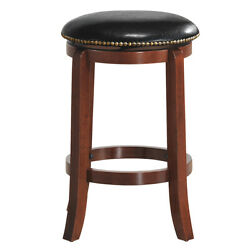 24 Swivel Bar Stools Leather Padded Solid Counter Height Pub Chairs Backless