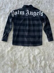 899 Rare Authentic Palm Angels Checked Heavy Oversized Flannel Shirt Xs Fits L