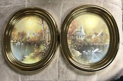Vtg Homco Home Interior Gold Oval Frame Pictures Church Lake Swan 1726 W/ Box