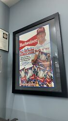 Framed Mickey Mantle Signed 1987 Budweiser Score Card Store Display Poster Jsa