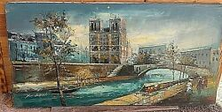 Vintage River Scene Cambridge Ontario Oil Painting On Canvas By L/a Roy Austin