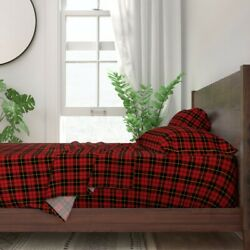 Wallace Red Black Yellow Plaid Tartan 100 Cotton Sateen Sheet Set By Roostery