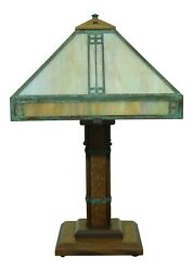52955ec Stickley Style Arts And Crafts Mission Oak Art Glass Lamp