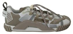 Dolce And Gabbana Shoes Sneakers Beige White Leather Logo Print Mens S. Eu42 / Us9