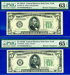 Rare - 1934-a / 1934-b 5 Frn Reverse Changeover Pair Pmg 63 And 65epq