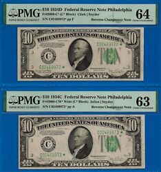 Crazy Rare - 1934-d / 1934-c 10 Frn Star - Reverse Changeover Pmg 64 And 63