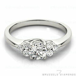 0.85 Ct F/si2 Natural Diamond Cluster Engagement Ring Round Solid 14k White Gold