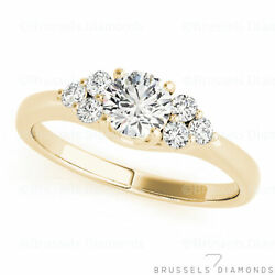 0.85 Ct F/si2 Natural Diamond Cluster Engagement Ring Round 14k Yellow Gold