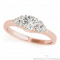 0.85 Ct F/si2 Natural Diamond Cluster Engagement Ring Round Solid 14k Rose Gold
