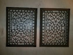 2 Antique Cast Iron Grate, Vent, Grill. Heating Air Conditioning 10 3/8x13 1/2