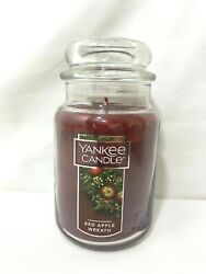 Yankee Candle Red Apple Wreath Large Jar Red Candle Unburned 22 oz New
