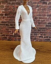 White doll dress glitter finish Handmade Clothes for doll 11.5in 12in $12.00