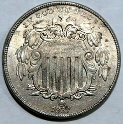 1867 Shield Nickel With Rays, Choice Example