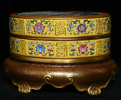7.4 Chinese Famille Rose Porcelain Gilt Dynasty Woman Kids Casket Jewelry Box