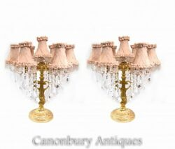 Pair French Table Lamps - Gilt Empire Lights