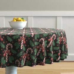 Round Tablecloth Vintage Christmas Candy Cane Leaves Classic Cotton Sateen