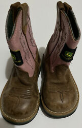 John Deere Pink Leather Flame Stitched Cowboy Boots Girls Infant Size 7m