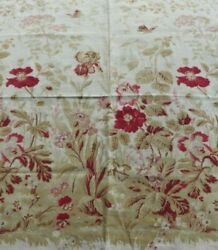 Antique French 19thC Cotton Printed Floral Border Fabric L 30quot; X W 25