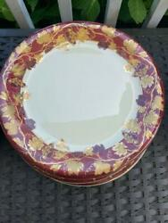 2 Crate And Barrel Volante 11 1/2 Dinner Plates Nwt Made Italy Burgundy Gold