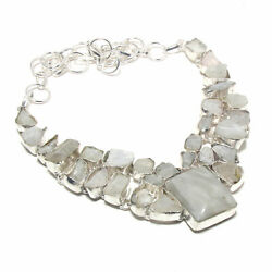 White Rainbow Moonstone Gemstone 925 Sterling Silver Jewelry Necklace 18