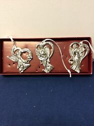Gorham Silver Plated Angel Christmas Ornaments Peace Hope Love Boxed Set Of 3
