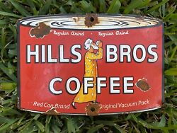 Vintage Hills Bros Coffee Can Porcelain Sign Oil Gas General Store Food Grocery