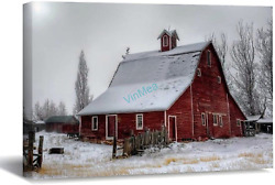 Red Barn On A Foggy Morning Oil Painting On Canvas Modern Wall Art Pictures For