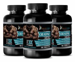 Creatine Monohydrate Powder 3x 5000mg Hcl - Pre Workout - 3 Bottles 270 Capsules