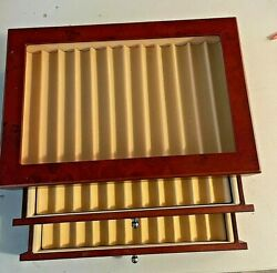 New Fountain Roller Ball Pen Wooden Display Case Holds 34 Pens. 8 X12 X 5