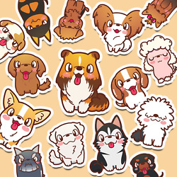 42 Cute Dog Stickers Kawaii Stickers Journaling Stickers 42 Different Breeds