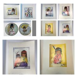 6 Ted De Grazia Art Prints Signed Limited Edition And 2 Plates Free S/h