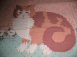 Vintage Full Size Sheet Set 4 Piece Sears Cats And Floral Country Farmhouse Rare
