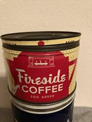 Vintage Fireside Coffee Egg Added Can Tin Key Wind H.h. Hixson Chicago 1 Pound