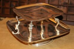 Vintage Silver 2-tiered Spinning Platter 8 Top And 10 Bottom - Good Condition