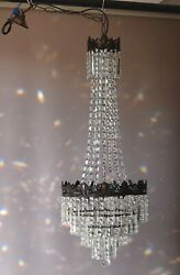 Tall French Empire Purse Crystal Chandelier Antique Vintage Light Pendant Lamp