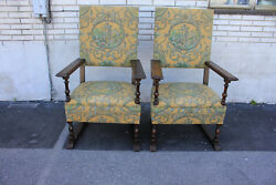 Charming Large And Comfortable Pair Of Oak Spanish Revival Side, Accent Armchairs