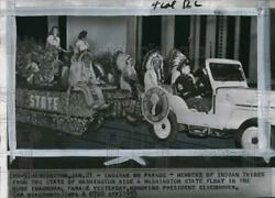 1953 Press Photo Native Americans On Washington State Float In Inaugural Parade