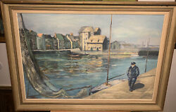 Large Unknown Mystery Unsigned Marina Sailboat Boating Painting