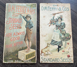 2 Aafa Antique D.m. Ferry And Co Cardboard Display Seed Advertising Signs 1895