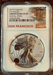 2019 S Enhanced Reverse Proof American Silver Eagle First Releases Ngc Pf70 Coa