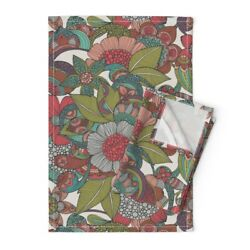 Henna Inspired Floral Vintage Hand Linen Cotton Tea Towels By Roostery Set Of 2
